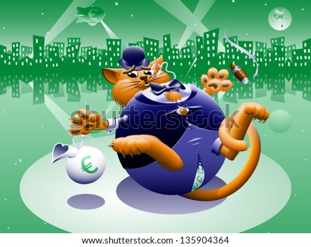 Fat Cat 2: Greenback City - The corporate or Wall Street fat cat. The millionaire, billionaire big money man banker. Symbol of greed & corruption. Vector contains gradient mesh.