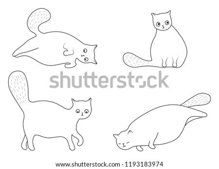 Hand Drawn Fat Cat Vectors