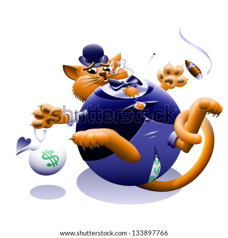 Fat Cat - The corporate or Wall Street fat cat. The millionaire, billionaire big money man banker. Symbol of greed & corruption. Vector contains gradient mesh.