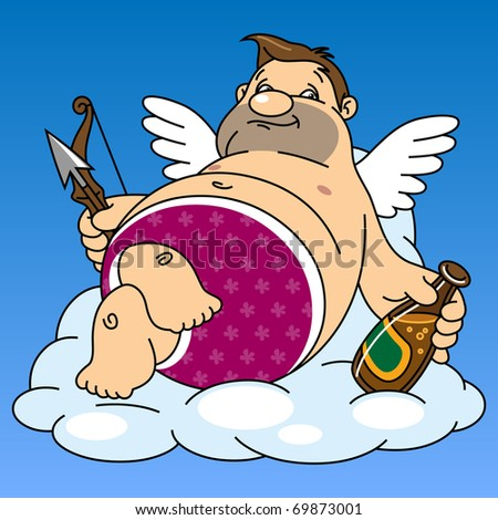 fat cupid drinks beer while