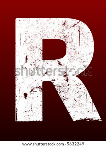 Fat Grunged Letters - R (Highly detailed grunge letter)