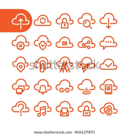 fat line cloud icon set for web
