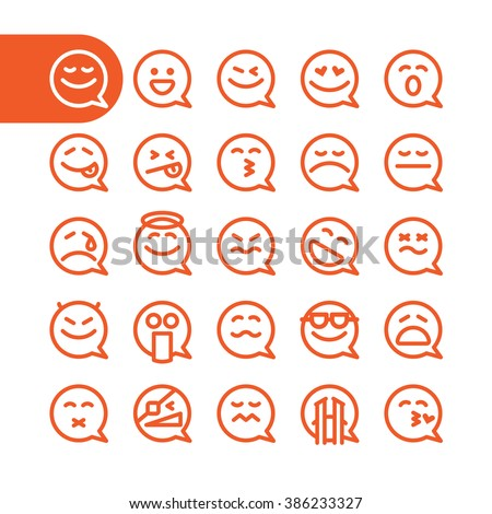fat line emoji icon set speech