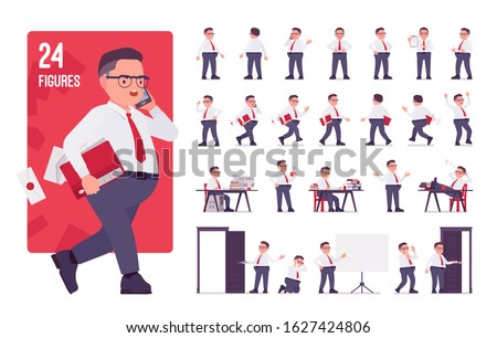 Fat male clerk in formal wear character set. Heavy middle aged business guy, office manager or civil service worker, typical employee, plus size. Full length, different view, gestures, emotions, poses