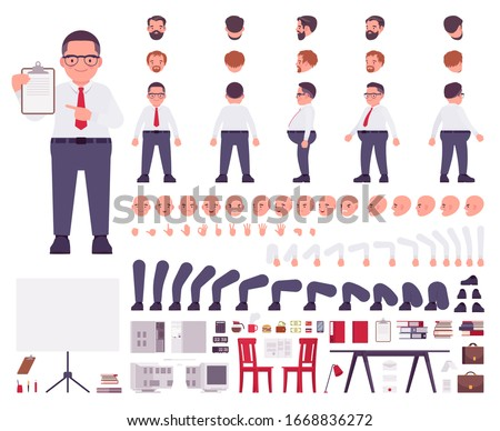 Fat male clerk in formal wear construction set. Heavy middle aged business guy, manager, civil service worker, office equipment, typical plus size employee. Cartoon flat style infographic illustration