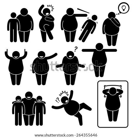 Fat Man Action Poses Postures Stick Figure Pictogram Icons Foto stock ©