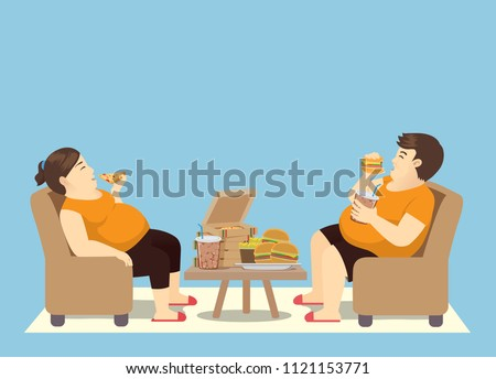 fat man and woman with many