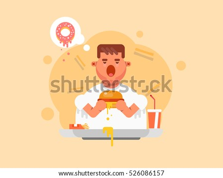 Fat man eating a big hamburger in flat style. Bad Habits