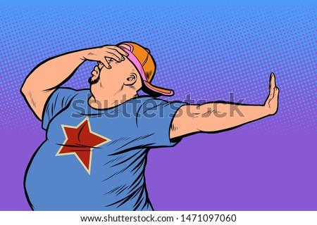 fat man. gesture no, shame. Pop art retro vector Illustrator vintage kitsch drawing