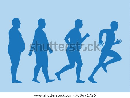 Fat man jogging to slim shape in 4 step. This pic about exercise concept.