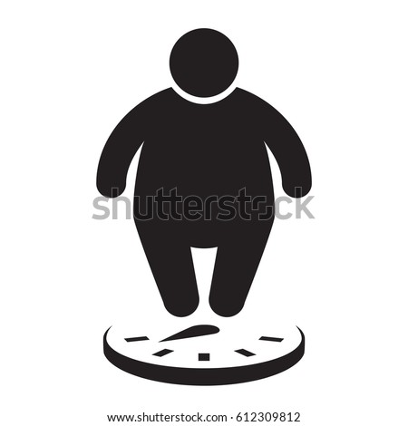 Fat man on the scales. Overweight icon. Vector illustration.