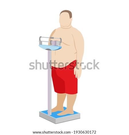 fat man on the scales. weight control. obesity. outdoor medical scales. Stock photo ©