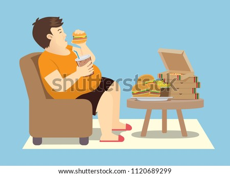 fat man overeating with many