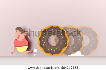 fat man runaway from donut