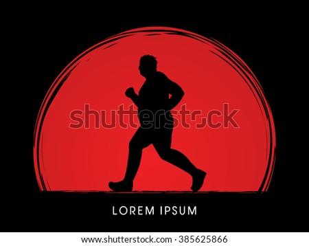 fat man running designed on
