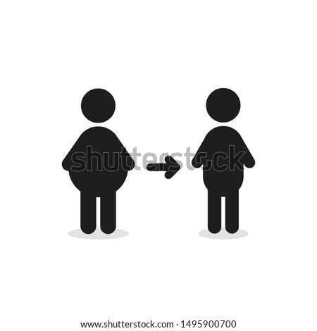 fat man turns into thin figure. flat simple style trend modern logotype graphic design isolated on white background. concept of malnutrition or overeating and result of sedentary life or bad habit Foto stock ©
