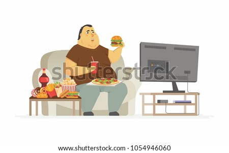 Fat man watching TV - cartoon people character isolated illustration on white background. A plump person, male couch potato eating fast food, french fries, drinking soda. Unhealthy lifestyle concept