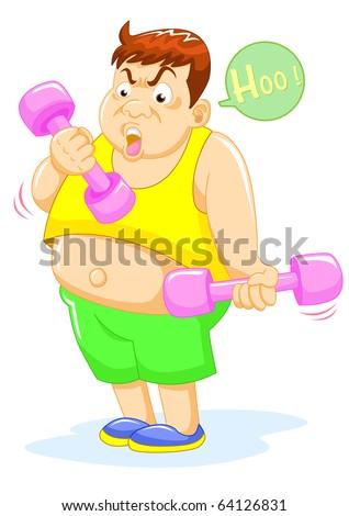 fat man weight lifting vector