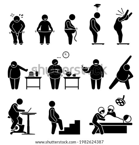 Fat man weight loss exercise diet and healthy lifestyle to become slimmer. Vector illustrations depict an obese man on weight scale, wearing pants, eating healthy diet, and exercising.  Foto stock ©