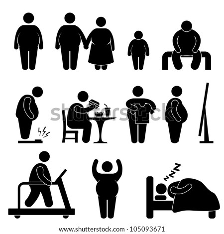Fat Man Woman Kid Child Couple Obesity Overweight Icon Symbol Sign Pictogram