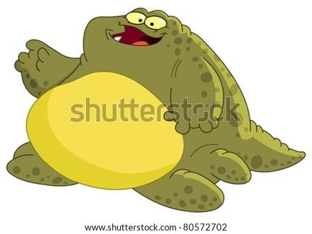 Fat monster waving hello