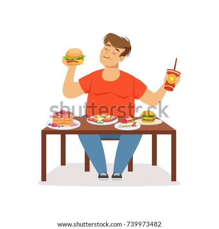 Fat obese man eating fast food, bad habit vector Illustration