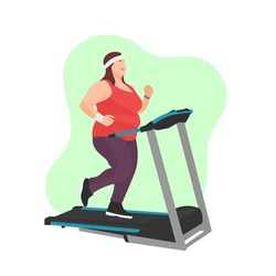 Fat or obese woman or girl jogging on treadmill. Weight loss program sign or symbol. Cardio workout. Obesity concept. Running lady. Sport motivation. Overweight flat vector character illustration.