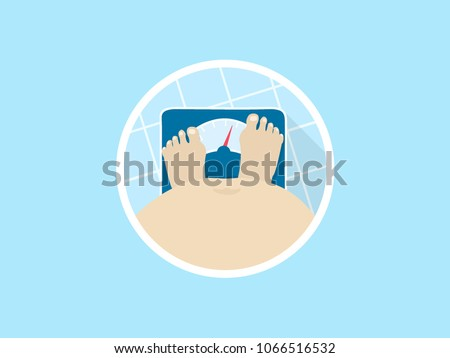 Fat person on a bathroom scale, high angle view. Overweight man checking weight. Flat vector illustration.