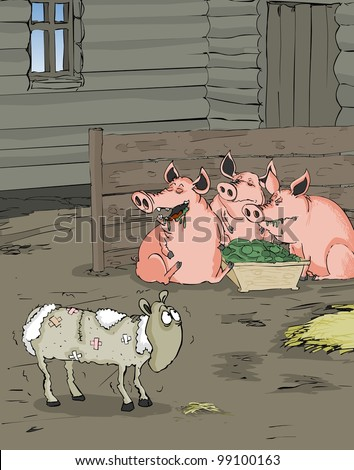 Fat pigs laughing about shabby sheep
