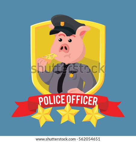 fat police pig in shield emblem