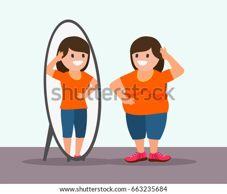 Fat woman and mirror. Fat woman sees her reflection differently in the mirror. Overweight loss concept. Isolated. Vector.