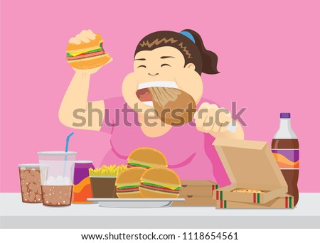Fat woman enjoy with a lot of fast food on the table. Illustration about overeating. Photo stock ©
