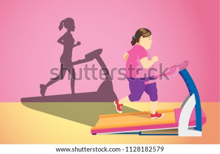 Fat woman jogging on electric treadmill but her shadow was slim. Concept illustration about Lose weight.