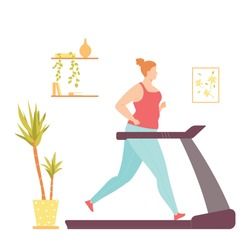 Fat woman on a treadmill doing cardio exercises at home. Weight loss. Healthy lifestyle. Vector illustration in hand drawn flat style