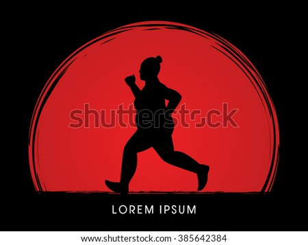 fat woman running designed on
