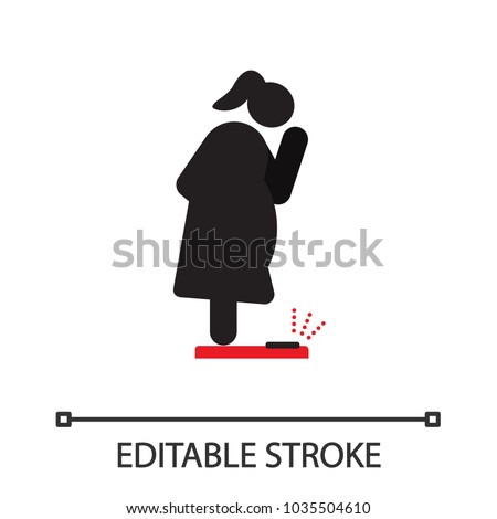 Fat woman standing on floor scales silhouette icon. Obesity, overweight. Weighing. Isolated vector illustration. Editable stroke