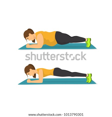 fat woman training in plank position, successful weight loss concept, before and after exercising and diet body graphic