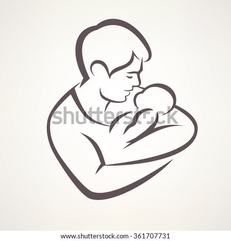 father and baby isolated vector