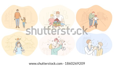 Father and child, fathers day, activities with children concept. Young men fathers walking in park, playing, having fun, building toy house, communicating and teaching children vector illustration