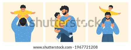 Father and child. Happy dad holding his cute baby in arms. Family spending time together. Father's day. Modern design for greeting card, poster, web or print. Collection of flat vector illustration. Foto d'archivio ©