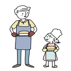 Father and daughter holding a tray of freshly baked bread. Smiling young man and little girl with aprons carrying homemade breads. Little chef and her dad baking bread together. Hand-drawn vector.
