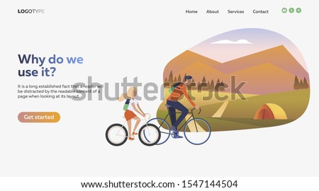 Father and daughter riding bikes. Sport, leisure, active lifestyle flat vector illustration. Outdoor activities concept for banner, website design, landing web page