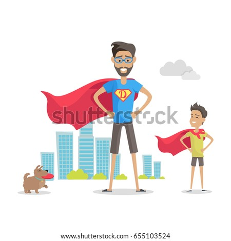 Father and his adorable son superheroes. Playing outdoors. Role model, greatest mentor. Honoring dads. Fatherhood concept, paternal bonds. Vector