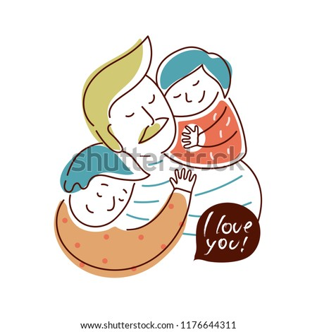 Father and his kids. Vector illustration for t-shirt design, card, blog, poster, logo, sticker. Isolated