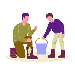 Father and son are fishing. Put the catch of fish in a bucket. Vector illustration in flat cartoon style. Isolated on a white background.