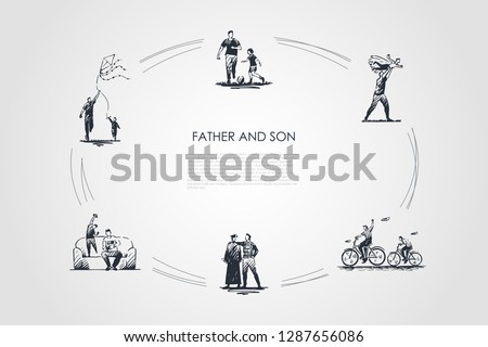 Father and son - father and son playing football, riding bicycles, kiting, playing on nature and at home vector concept set. Hand drawn sketch isolated illustration