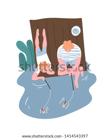 Father and son fishing or angling at river, lake or pond. Parent and child spending time together and performing outdoor recreational activity. Happy fatherhood or parenting. Flat vector illustration.