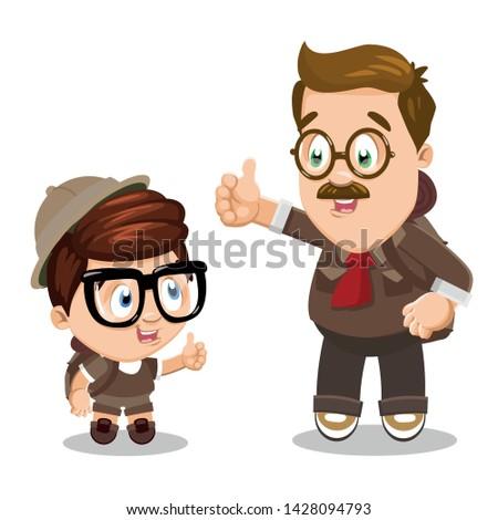 father and son in safari