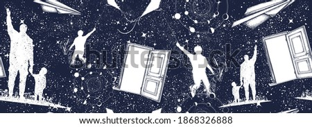 Father and son, open door in universe. Symbol of childhood, imagination, immortality, creativity. Seamless pattern. Black and white surreal graphic Stock photo ©
