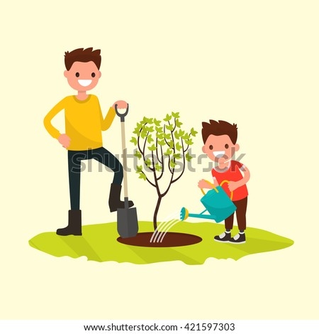 Father and son planting a tree. Vector illustration of a flat design stock photo
